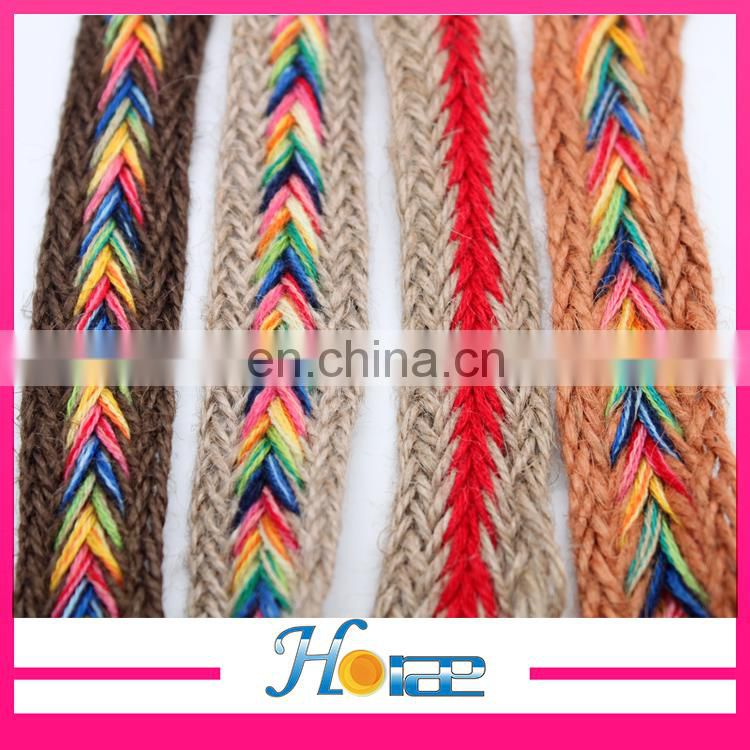 wholesale 2.5cm width jute webbing cord rainbow color braided jute webbing rope for shoe and bag