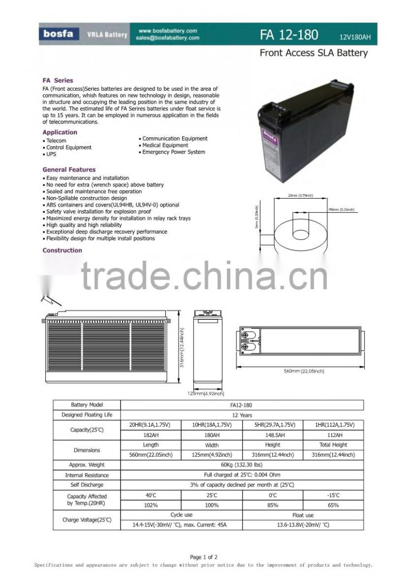 12v180ah lead acid front terminal high quality battery