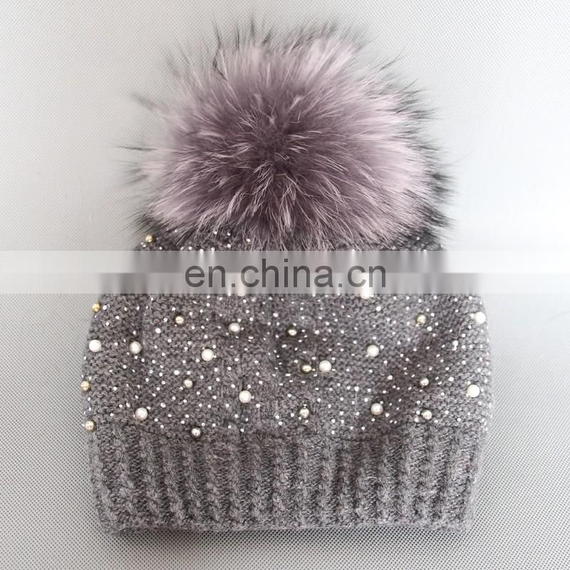 Winter warm girls women weaven hats with real fur pom pom