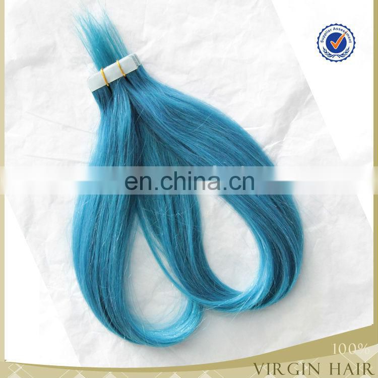 2.5g/s,40pics Cheap brazilian hair, double drawn colorful ombre remy tape hair extension