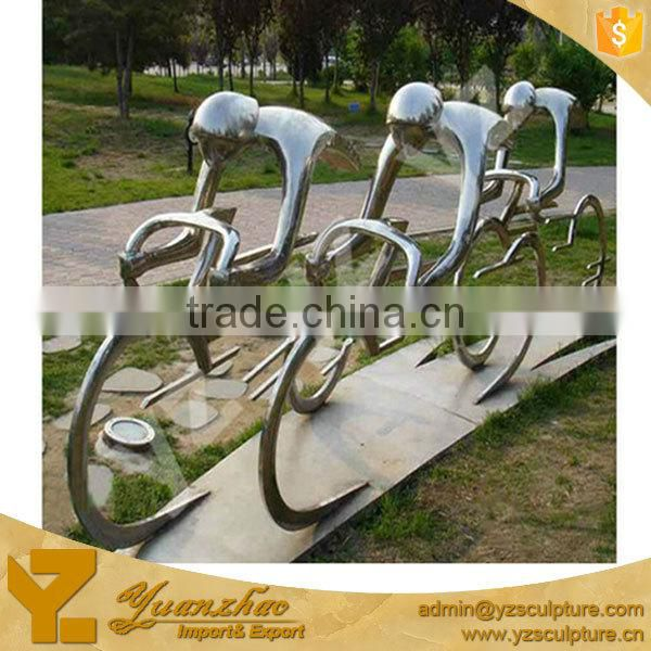 Beautiful outdoor stainless steel statue of sports