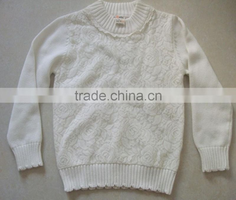 Hight Quality 100% Cotton Baby Girls Sweater Design With Lace O Neck Kids Sweater OEM Service(BKN5259)