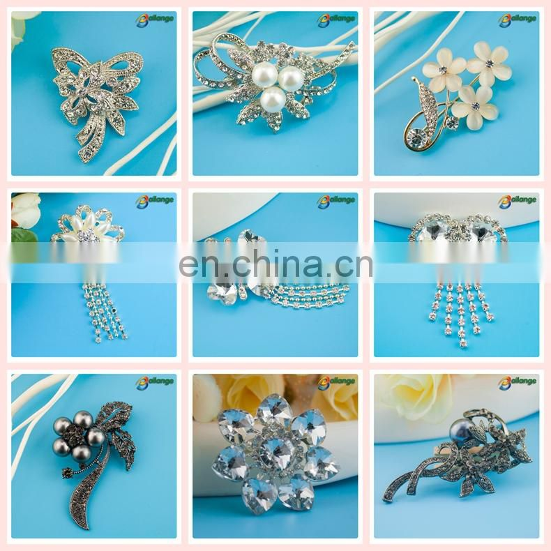 Bailange silver stone fashion rhinestone brooch for chair sash