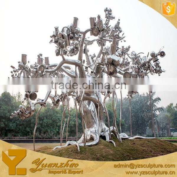 Large Abstract Stainless Steel Tree Sculpture
