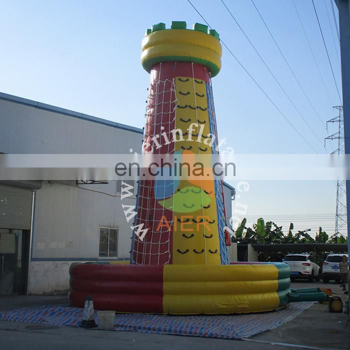 Outdoor inflatable climbing walls for adult&kids,9m climbing tower inflatable climb in ball,inflatable sports game