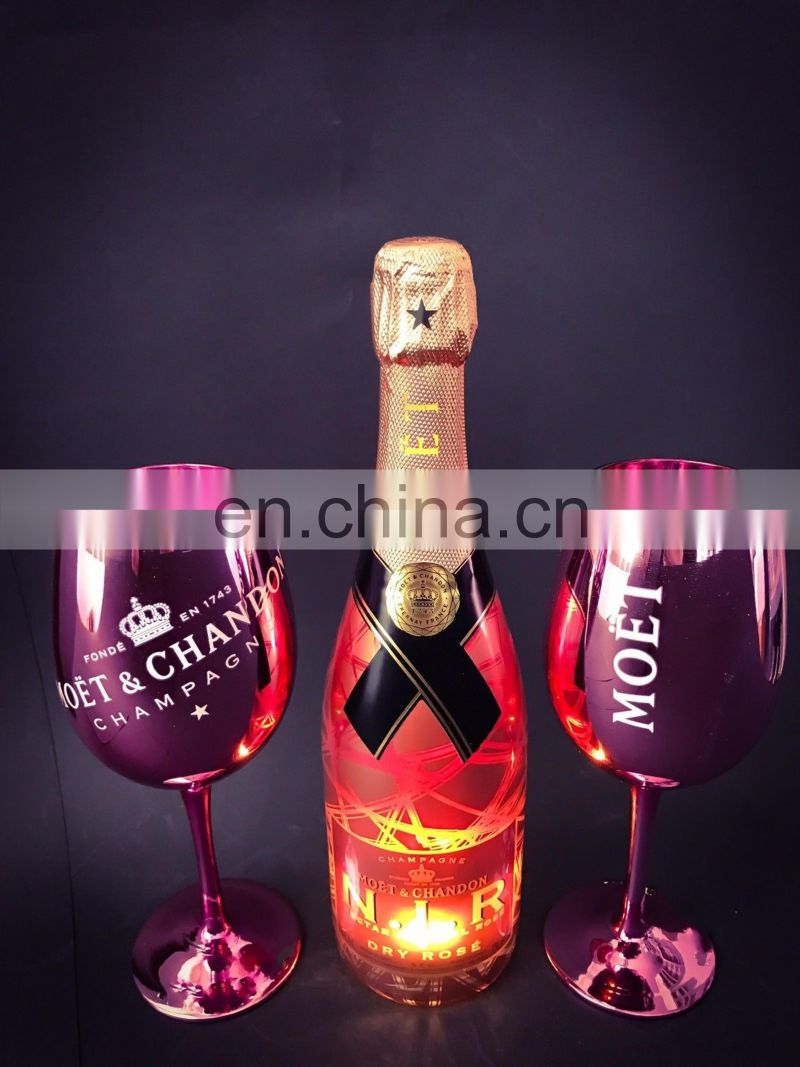 GOLD/ROSE PINK PLATING MOET CHANDON CHAMPAGNE GOBLETS