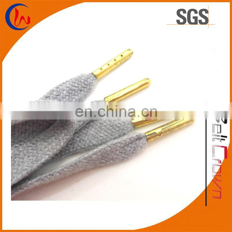 Flat shoelace metal tip