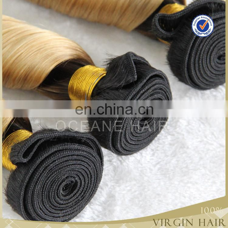 Unprocessed human virgin ombre hair extension