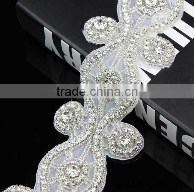 Wolesale bridal applique sash rhinestone trims for wedding decoration, crystal beaded wedding dress belt