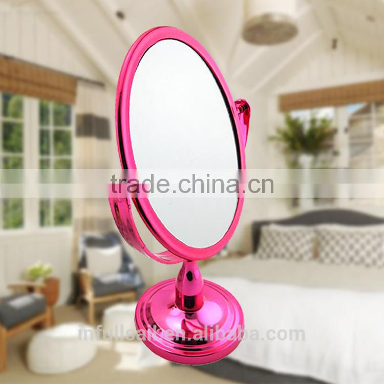 Plasticl colourful double oval magnifying cosmetic/ table mirror Free Standing Mirror