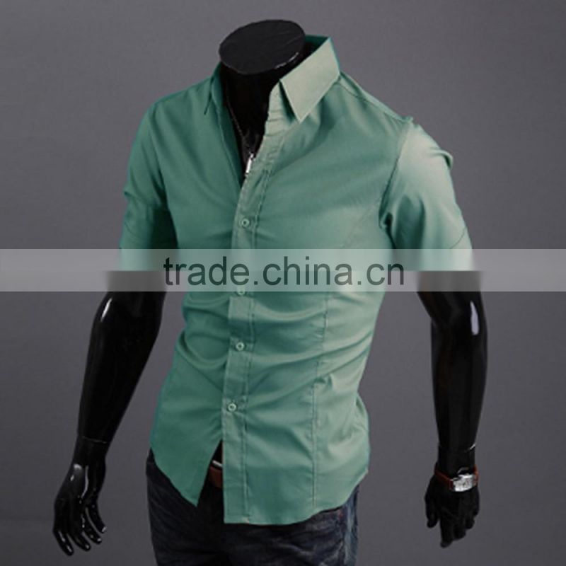 Mens Casual Formal Shirt Short Sleeve Slim Fit Business Shirts