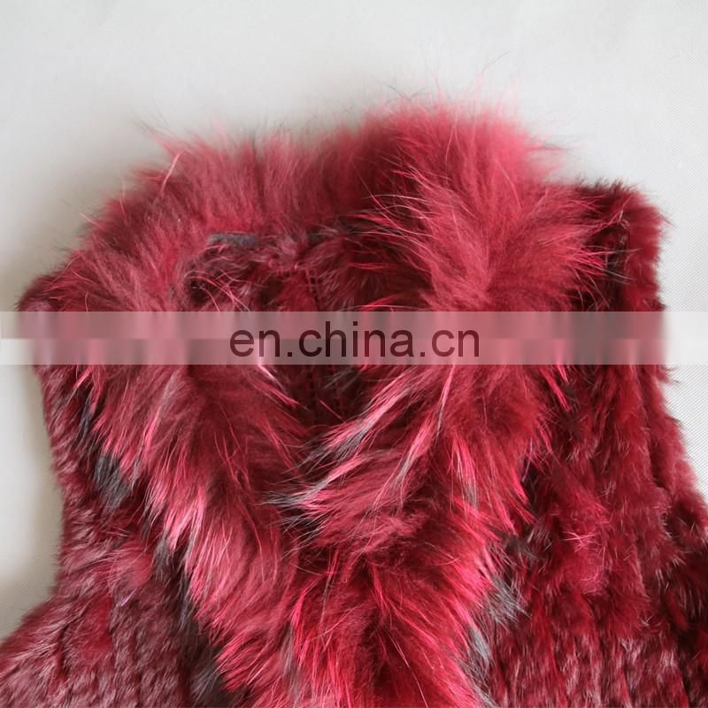 Popular style girl lady knitting rabbit fur vest for winter