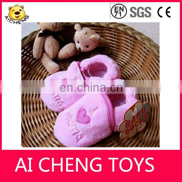 Lovely plush baby socks for sale CE testing