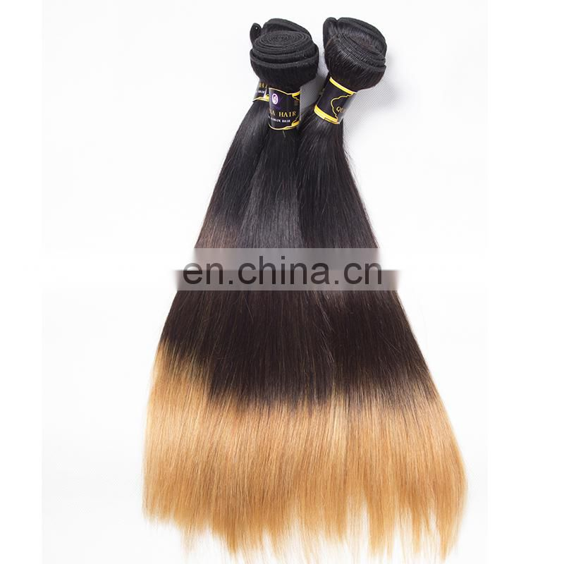 Wholesale aliexpress uk remy Peruvian hair 1b 4 27 three color ombre hair extensions bundles women favorite new products