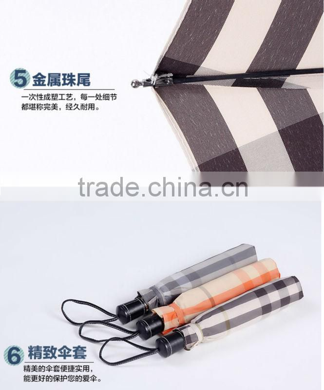 Automatic open folding umbrella with Check pattern