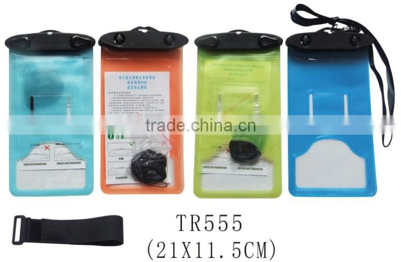 Newest PVC waterproof mobile phone bag with lanyard
