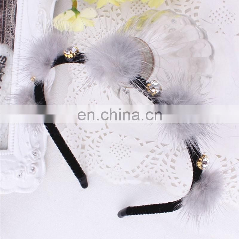 Small genuine mink fur balls hair hoop for girl handmade fur accessory