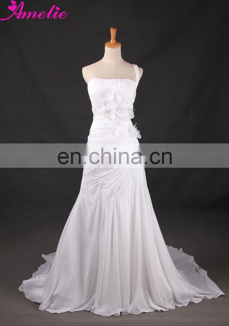 Real White Elegant Chiffon Fabric Wedding Dress