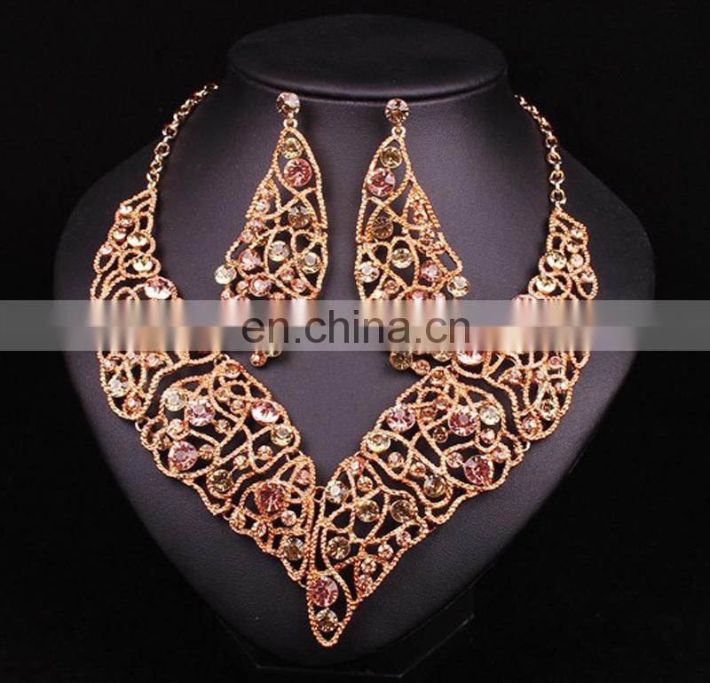 2017handmade jewelry set leaf designsRoyal bule color necklace for weddingrhinestone earing for bride