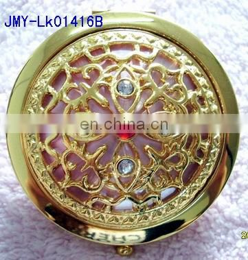 3D decoration gold metal compact mirro