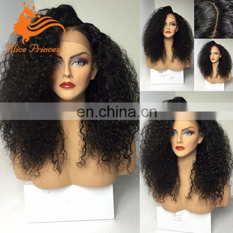100% Virgin Human Hair Glue Less Full Lace Wig Long Afro Kinky Curly Lace Front Wigs