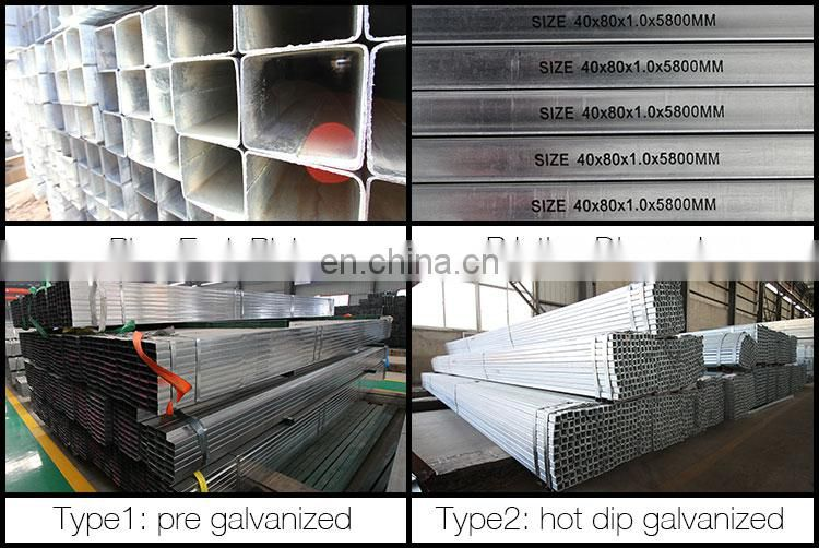ASTMa500 galvanized square steel pipe, gi pipe standard length in philippines
