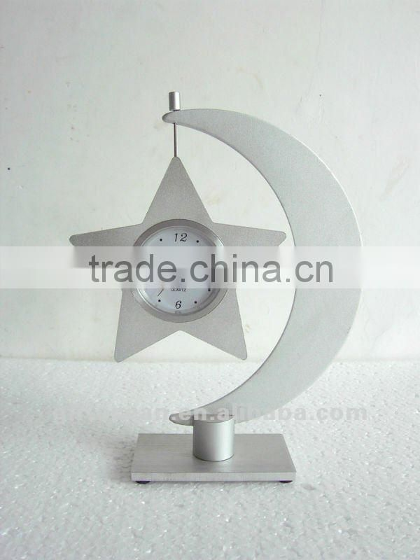aluminum art metal desk clock, STAR shape metal crafts table clock