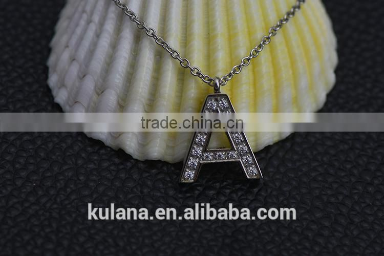 IN91209 New Design Alphabet Style Charm Pendant Initial Jewelry Stainless Steel Letter Necklace