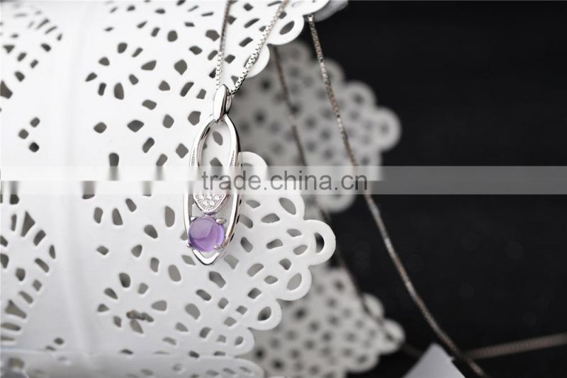 oval long stylish fancy design new natural gemstone wholesale fashion amethyst pendant necklace