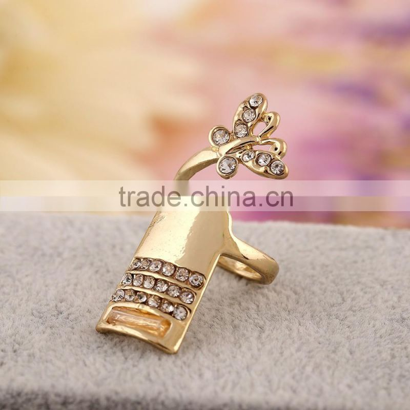 Fashion finger nail ring butterfly fingernail