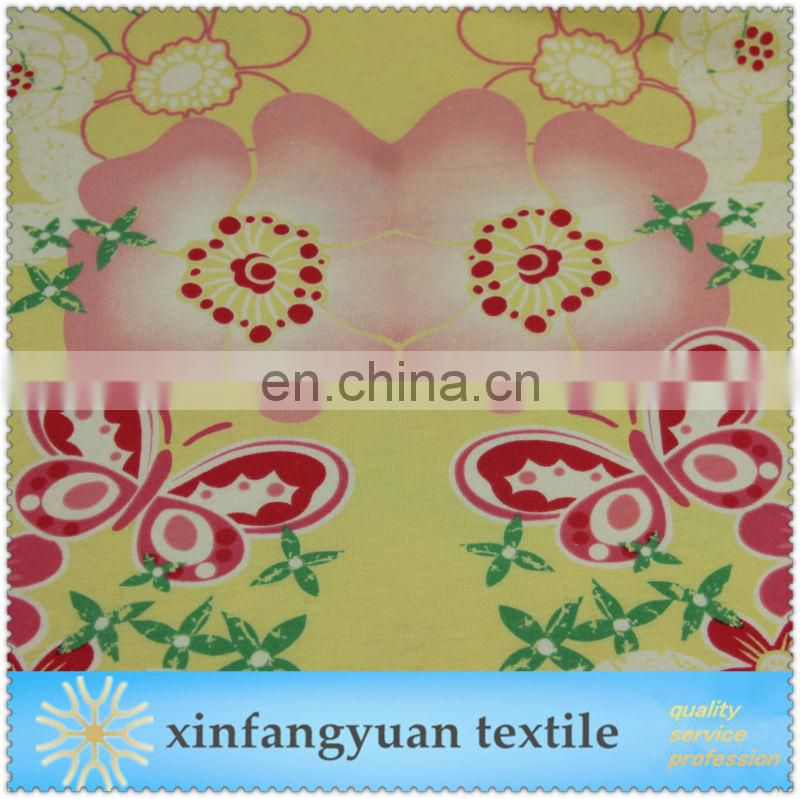 knitted 100 cotton fabric printed butterfly cheap price