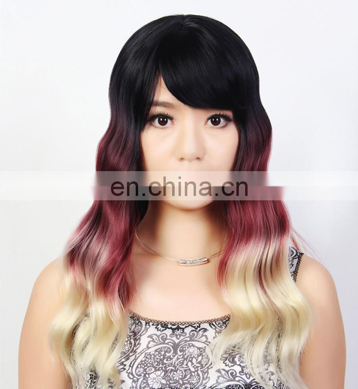 Ombre Color Cheap Wavy Ladies Synthetic Wig