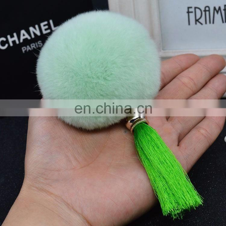 China Supplier Genuine Rex Rabbit Fur Ball Key Ring Colorful Customized Real Tassel pompom Keychains