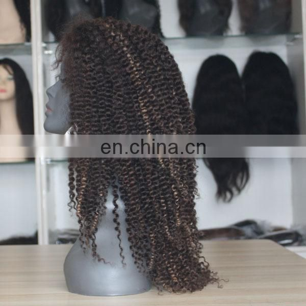 "China cheap long highlight hair wig afro curl 20"" machine made human hair wig thick"