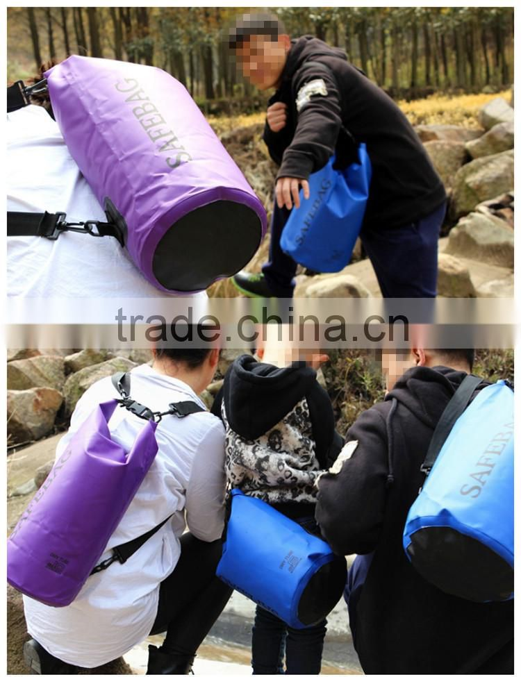 PVC tarpaulin waterproof floating travel outdoor dry sack with shoulder strap