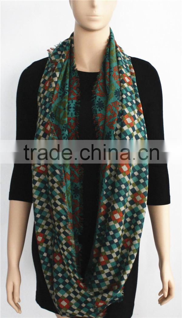 Printed Wool Infinity Scarf with fringe