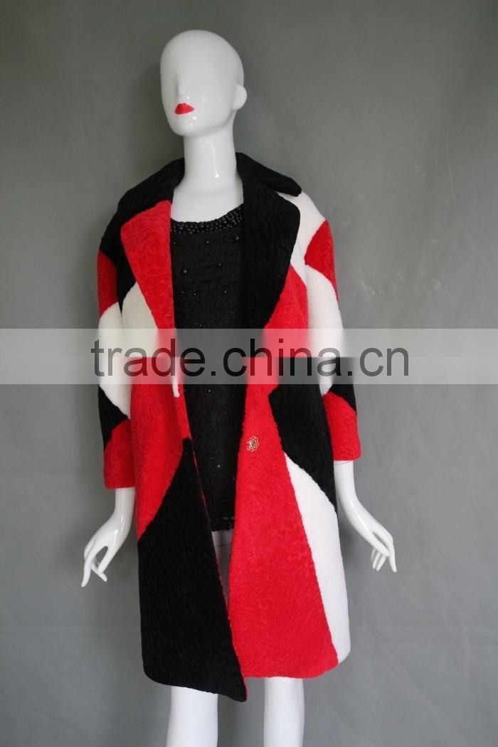 Hot sale Fashion Design Mongolian Lamb Fur Coat Genuine Women Popular Mongolian Sheep Fur Coat
