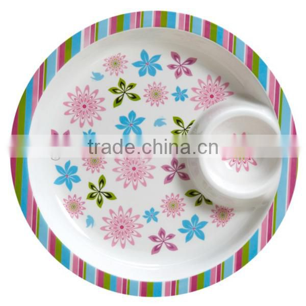 wholesale round plastic serving tray with dividers