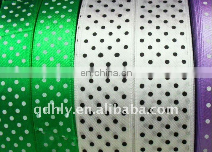 polyester sation ribbon with gold line