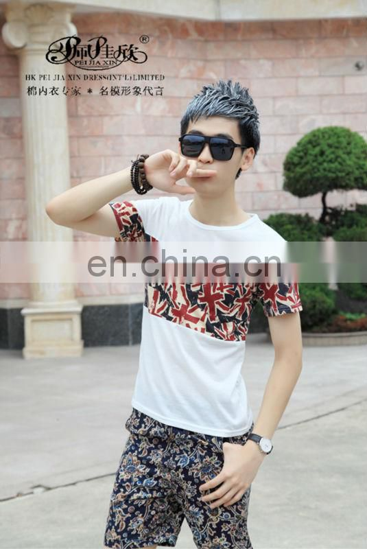 Peijiaxin Fashion Design Casual Style Flag Montaged T shirt with Wholesale Price