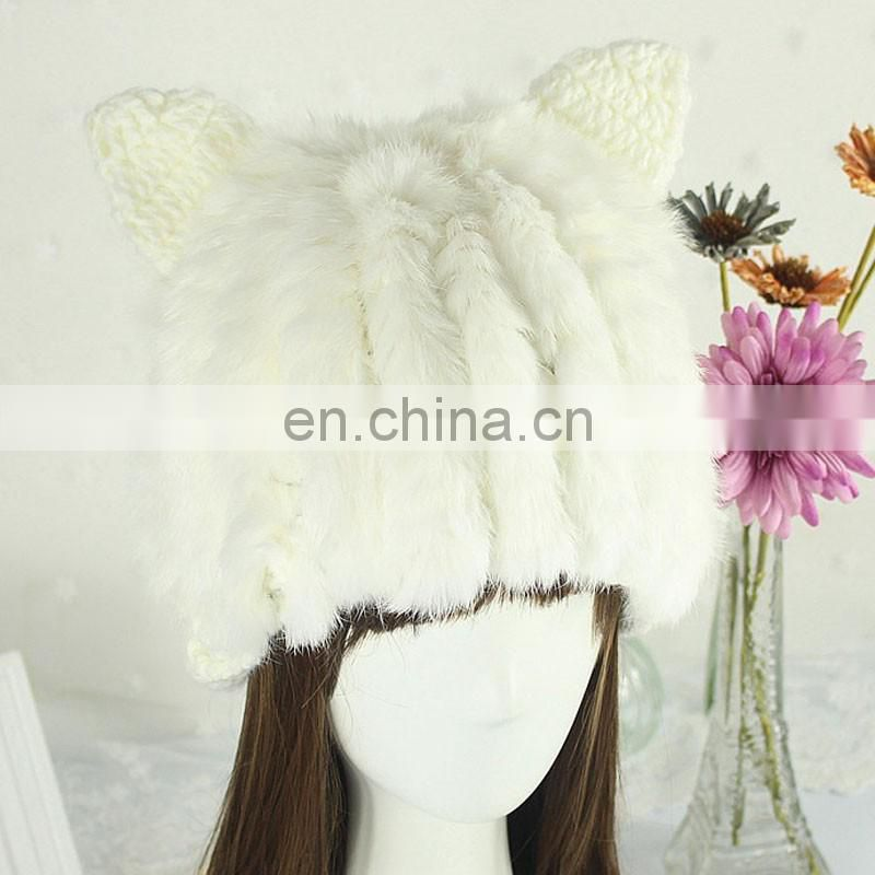 White cat ear hat cap handmade winter lady girl rabbit fur knitted hats