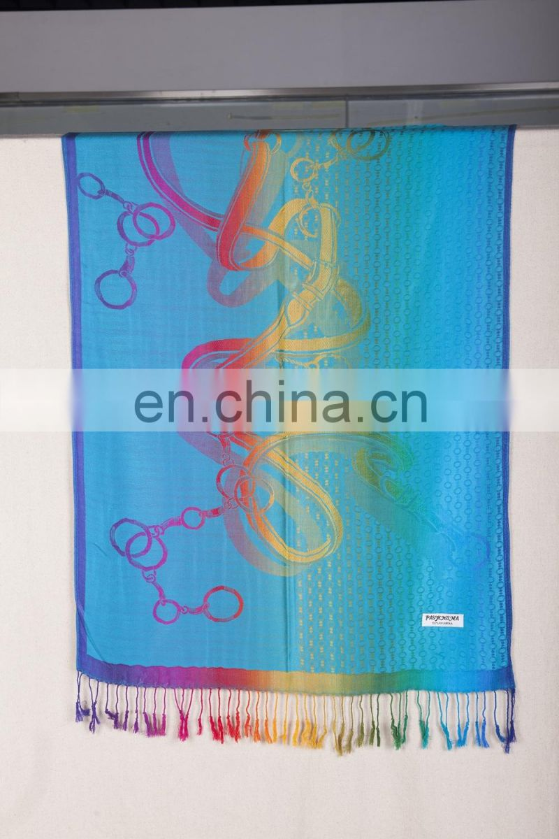 key ring flower with wire line viscose jacquard pashmina shawl & scarf 70*180cm add 2*10cm fringe good quality
