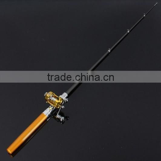 Golden Vara De Pesca Mini Aluminum Pocket Pen Fishing Rod Pole + Reel Sea Fishing Rods Tackle Tool