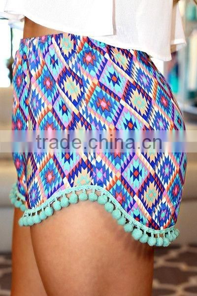 New Arrival Popular Pom Pom Cotton Beach Shorts mother daughter matching bohemian pom pom shorts