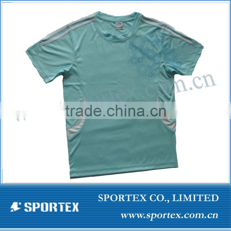 Sport solid t shirt 100% polyester/ Nice pattern shirt for mens/ men's shirt