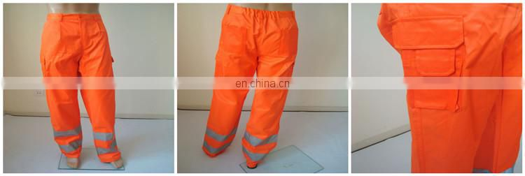 Cotton/polyester 60/40 high visibility reflective safety trousers