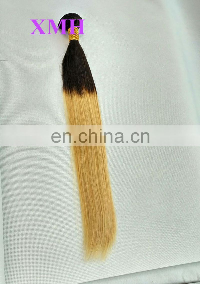 Full cuticles double weft ombre bundles hair weaves most popular silk straight hair ombre hair weaves