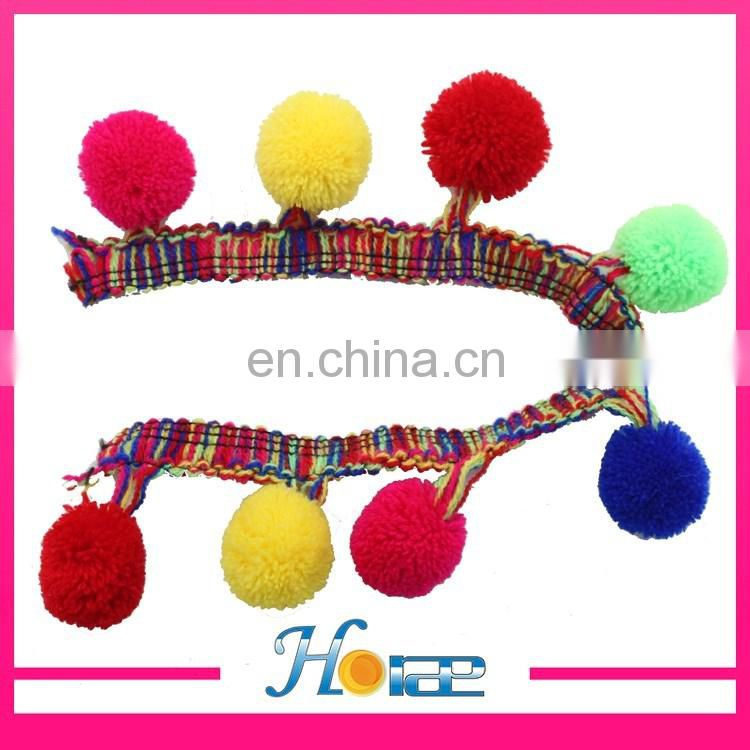 high quality 4cm width indian pompom lace trim colorful pom pom trim for shoe and clothes