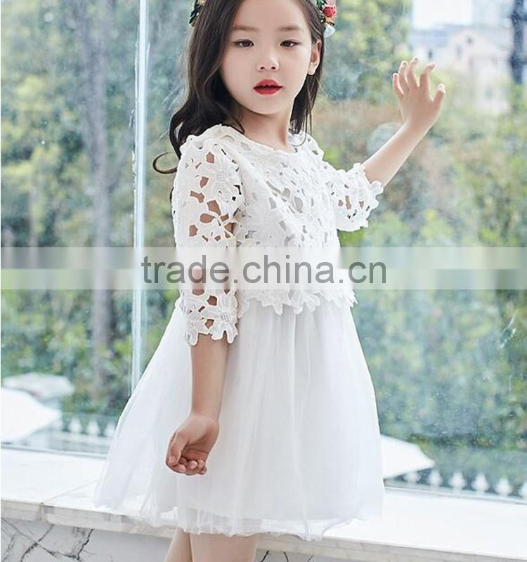 White Baby Girls Lace Normal Dress Medium Sleeve Tulle Dress