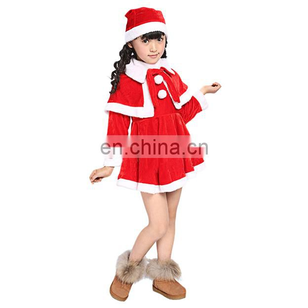 Long Sleeve Kid Santa Claus Suit and Dress for Christmas day, kids christmas party dresses
